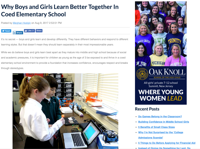 Why Boys and Girls Learn Better Together in Coed Elementary School - Oak Knoll School of the Holy Child